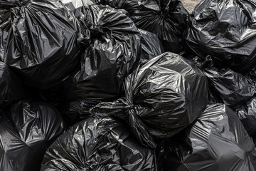 Background garbage bag black bin waste, Garbage dump, Bin,Trash, Garbage, Rubbish, Plastic Bags pile junk garbage Trash texture, Background waste plastic bin bag.