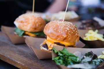 Fresh street food burgers real life photo