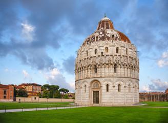 Pisa Baptistery at Piazza dei Miracoli aka Piazza del Duomo in Pisa Tuscany Italy