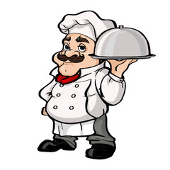 Smiling Chef cartoon character holding silver platter