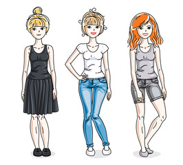 Happy young adult girls group standing wearing fashionable casual clothes. Vector people illustrations set. Fashion and lifestyle theme cartoons.