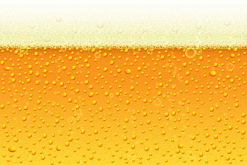 Light beer with foam background. Vector illustration in realistic style for pub and bar menu design, banners and flyers.
