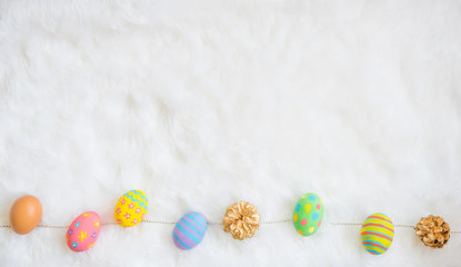 colorful easter eggs with happy easter word
