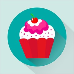 Cupcake icon in flat style. Cute modern vector illustration