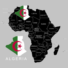 Territory of Algeria on Africa continent. Vector illustration.