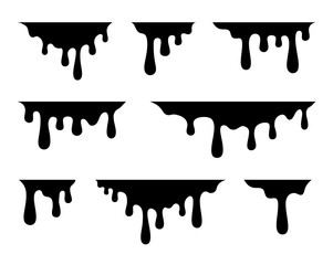 Paint drips. Current black paint. Current drops. Vector illustration
