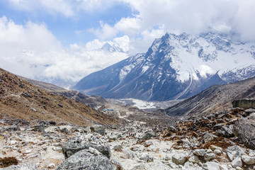 Beautiful Himalaya snow mountain views on route to Everest Base Camp