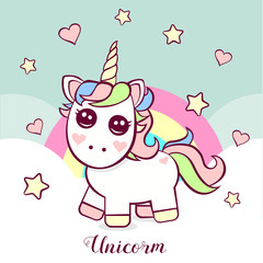 Cute unicorn with stars and hearts