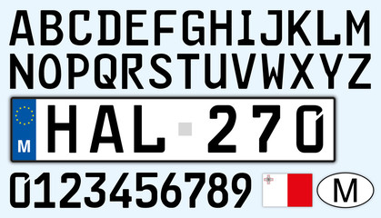 Malta car plate, letters, numbers and symbols