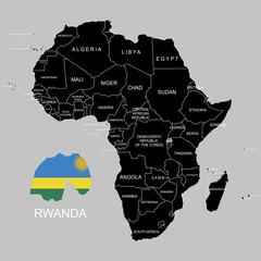 Territory of Rwanda on Africa continent. Vector illustration