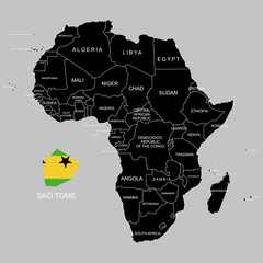 Territory of Sao Tome on Africa continent. Vector illustration