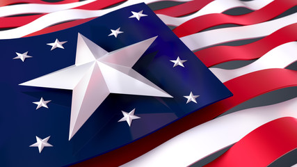4th of July, USA Independence Day. Isolated 3D illustration Stars and Stripes.