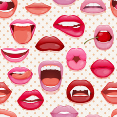 Seamless pattern with womans lips. Glossy smiling mouth that kiss and show tongue, teeth
