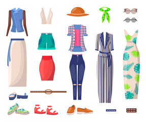 Female Bright Summer Clothes and Stylish Shoes Set