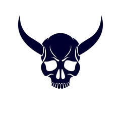Vector scary scull graphic illustration. Demonic infernal creature, horned wicked Baphomet vector symbol.