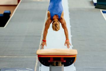 sports gymnastics back athlete gymnast vault exercises