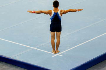 sports gymnastics back athlete gymnast exercises on floor