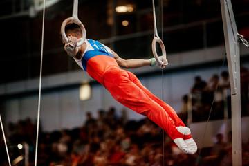 Door stickers Gymnastics artistic gymnastics men gymnast exercises on still rings