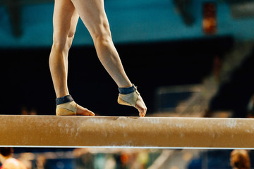 artistic gymnastics legs women gymnast exercises on balance beam