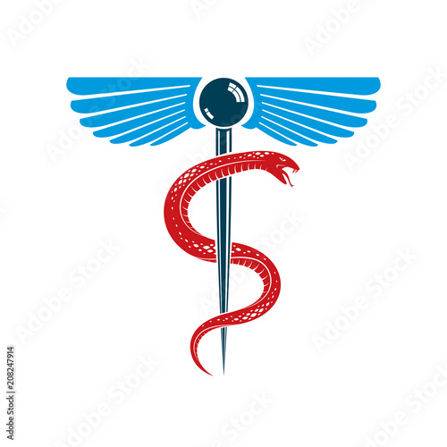 Caduceus Medical Symbol Graphic Vector Emblem Created With Wings