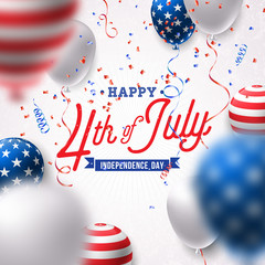 Happy Independence Day of the USA Vector Illustration. Fourth of July Design with Air Balloon and Falling Confetti on White Background for Banner, Greeting Card, Invitation or Holiday Poster.