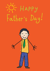 Kid's drawing. Father's day. Asian man on the picture