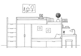 Children's room. Children's furniture. Bunk bed, table and chair. Hand drawn vector illustration of a sketch style.