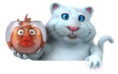 Cat and fish - 3D Illustration