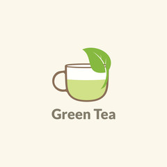 green tea cup leaf logo