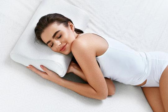 Healthy Sleep. Woman Sleeping On White Orthopedic Pillow