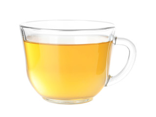 Foto op Plexiglas Thee Cup of hot aromatic tea on white background
