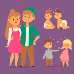 Couple in love vector characters togetherness happy smiling people romantic woman amorousness together adult relationship.