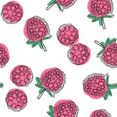 Raspberries seamless pattern. Vector hand drawn illustration.