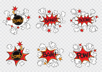 Explode cartoon illustration set. Bomb with fire cord wick. Explosion on white transparent background. Comic book exploding sign symbol collection