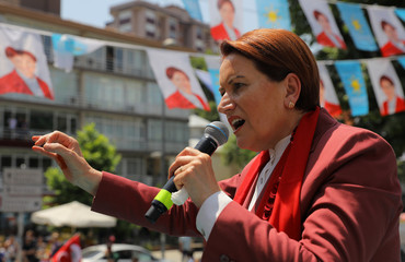 Iyi Party leader Meral Aksener addresses her supporters during a campaign event in Istanbul