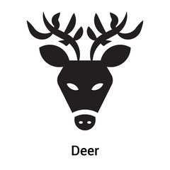 Deer icon vector sign and symbol isolated on white background, Deer logo concept