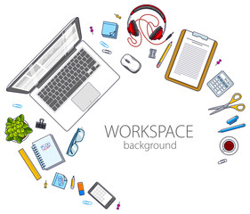 Office employee or entrepreneur work desk workplace with PC computer and diverse stationery objects for work with copy space for text. All elements are easy to use separately. Vector.