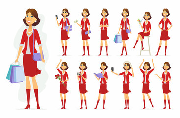 Fashionable woman - vector cartoon people character set