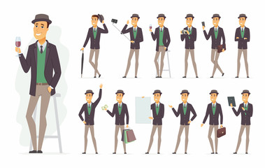 Stylish man - vector cartoon people character set