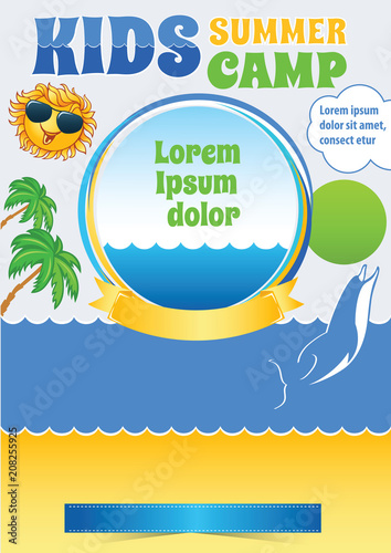 kid sea camp template summer holiday flyer exotic travel
