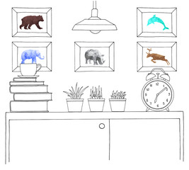 Sketch of the interior. A table, a bedside table, a shelf with various interior items. Can be used as a mock up.
