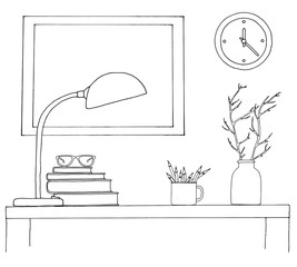 Sketch of the interior. A table, a bedside table, a shelf with various interior items. Can be used as a mock up. Frame for your graphics.