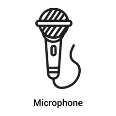 Microphone icon vector sign and symbol isolated on white background, Microphone logo concept