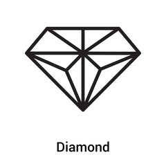 Diamond icon vector sign and symbol isolated on white background, Diamond logo concept