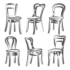 Set of chairs isolated on white background. Vector illustration in a sketch style.