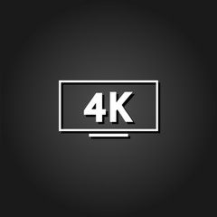 LCD 4k icon flat. Simple White pictogram on black background with shadow. Vector illustration symbol