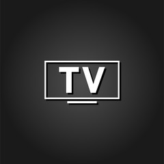 TV icon flat. Simple White pictogram on black background with shadow. Vector illustration symbol