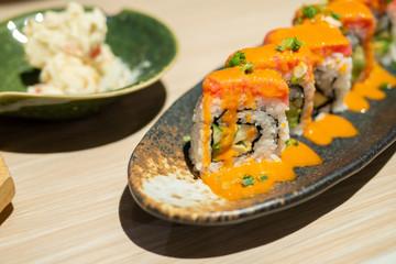 Fresh Japanese food Sushi rolls maki served with shrimp eggs