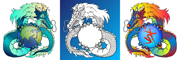 Wise Dragons colorful and line-art