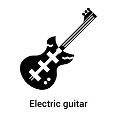 Electric guitar icon vector sign and symbol isolated on white background, Electric guitar logo concept